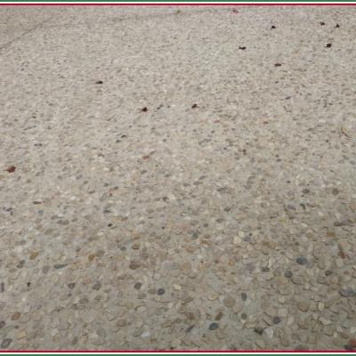 Vialetto in calcestruzzo e sasso lavato arrotondato a Parma