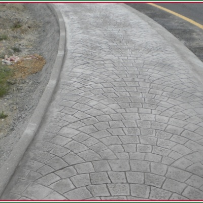 marciapiede stradale in cemento stampato a ventaglio