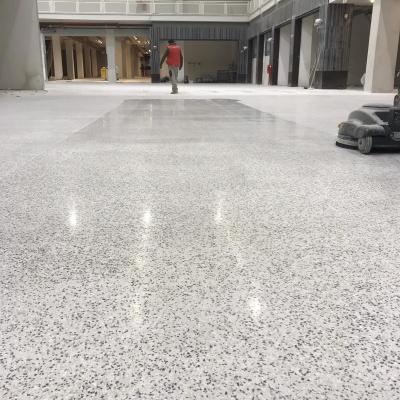 Lucidatura pavimento interno in cemento con granito a Parma