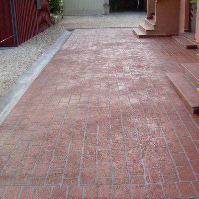 Pavimenti esterni in spray color a Piacenza effetto cotto